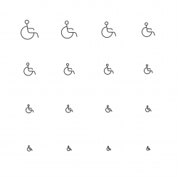 Handicap Sign Icons - Multi Scale Line Series
