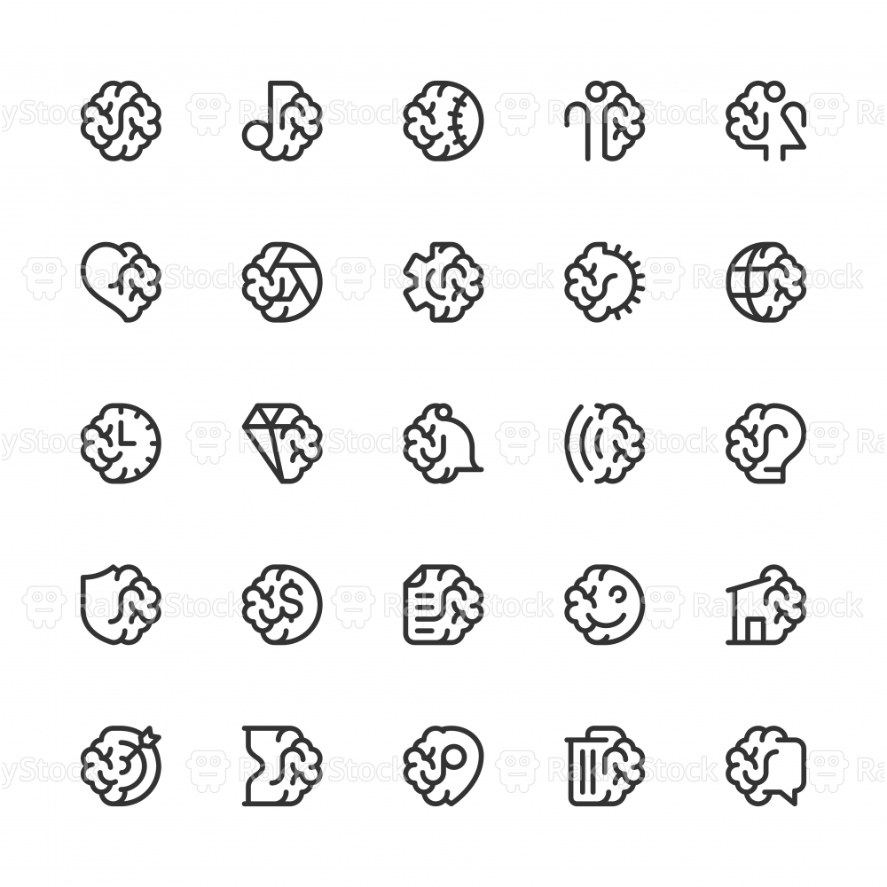 Brain with Basic Icons - Line Series