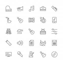 Musical Equipment Icons - Thin Line Series