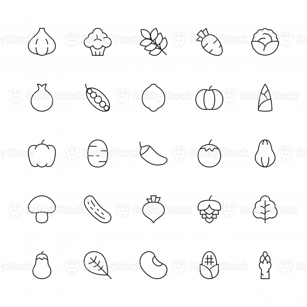 Vegetable Icons - Thin Line Series