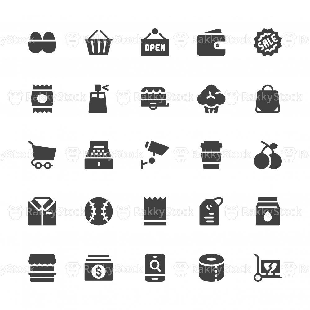 Retail Store Icons - Gray Series