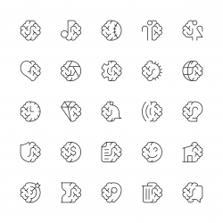 Brain with Basic Icons - Thin Line Series