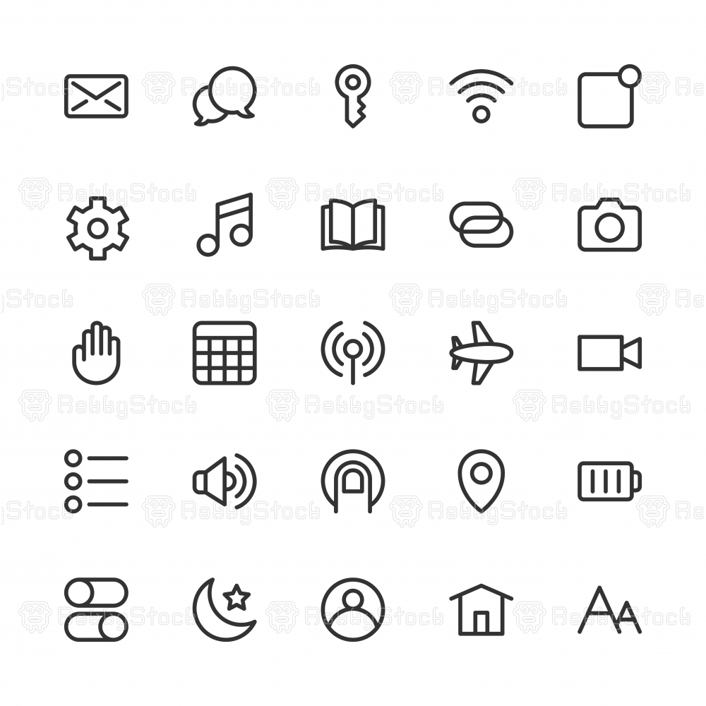 Mobile Device Setting Icons - Line Series