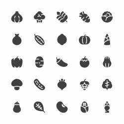 Vegetable Icons - Gray Series