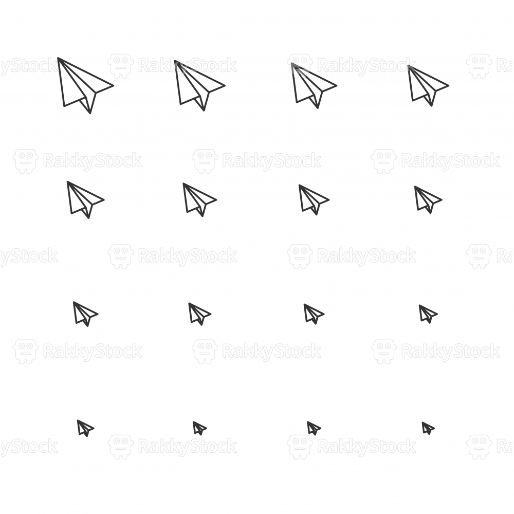 Paper Airplane Icons - Multi Scale Line Series