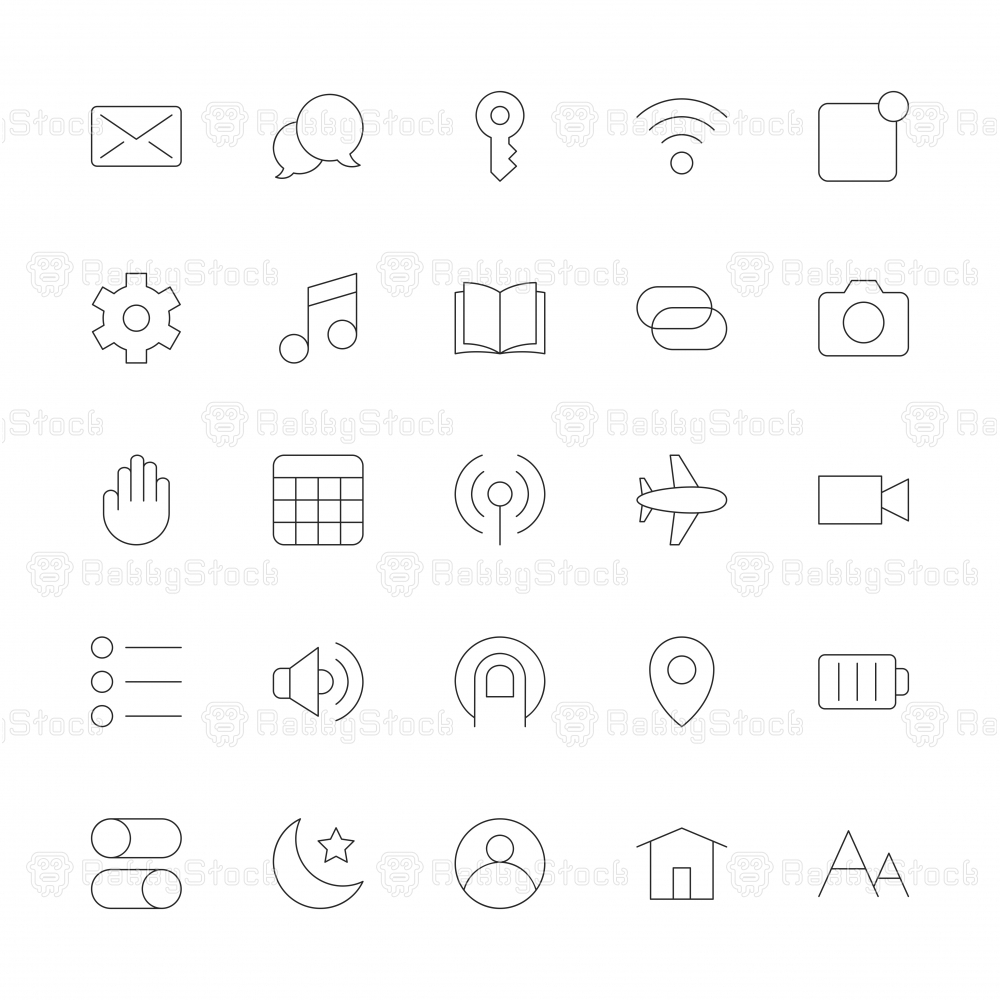 Mobile Device Setting Icons - Ultra Thin Line Series