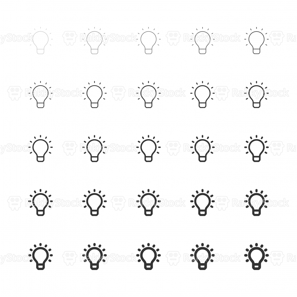 Light Bulb Icons - Multi Line Series