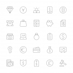 Financial Item Icons - Ultra Thin Line Series