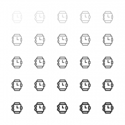 Wristwatch Icons - Multi Line Series