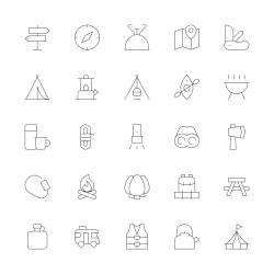 Camping Icons - Ultra Thin Line Series