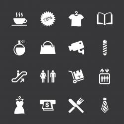 Shopping Mall Icons - White Series | EPS10