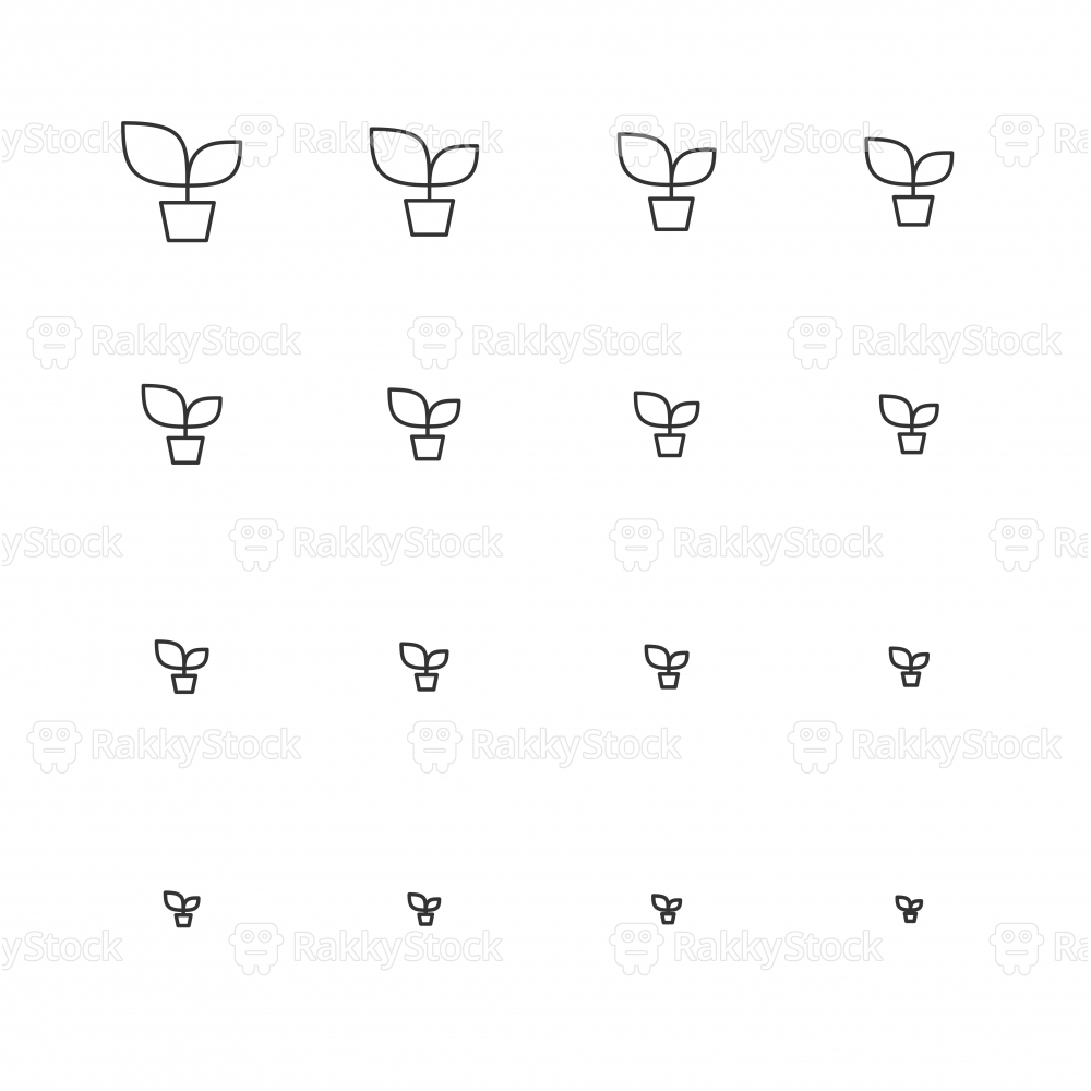 Potted Plant Icons - Multi Scale Line Series
