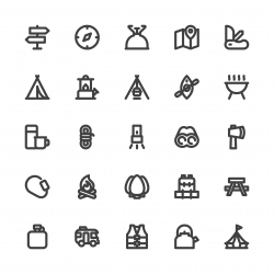 Camping Icons - Bold Line Series