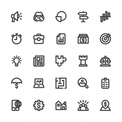 Business Strategy Icons - Bold Line Series