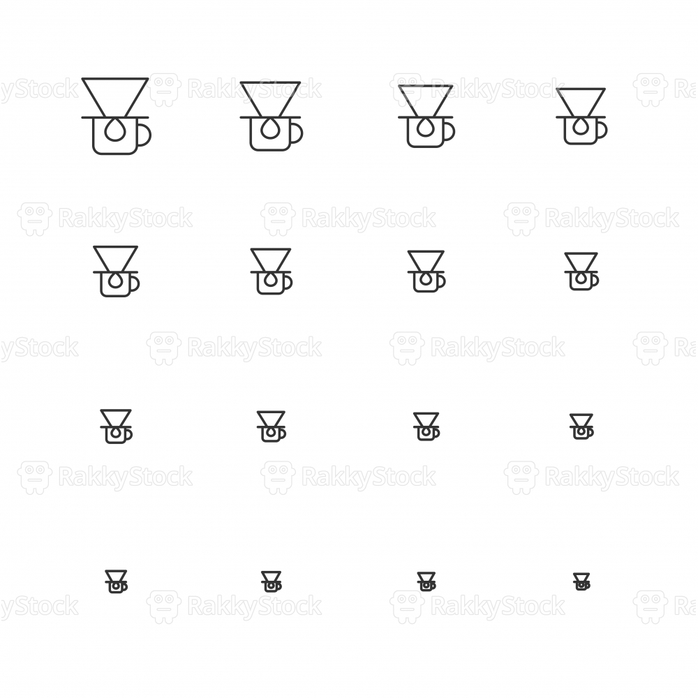 Coffee Drip Icons - Multi Scale Line Series