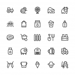 Dairy Farm Icons - Line Series