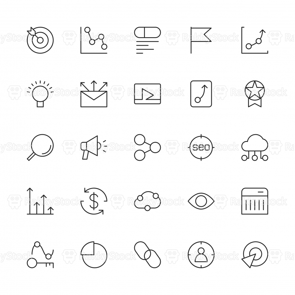 Search Engine Optimization Icons - Thin Line Series