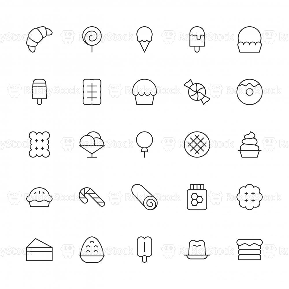Dessert Icons - Thin Line Series