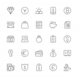 Financial Item Icons - Thin Line Series