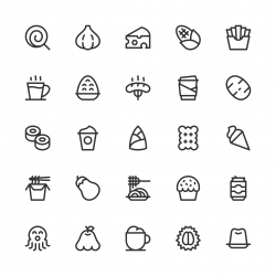 Food and Drink Icons Set 3 - Line Series