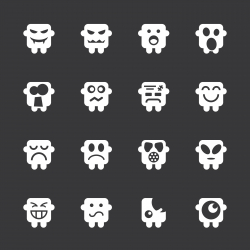 Emoticons Set 6 - White Series | EPS10