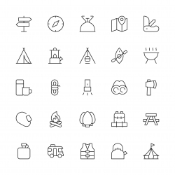 Camping Icons - Thin Line Series