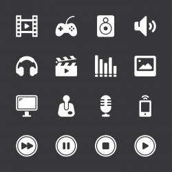Multimedia Icons - White Series | EPS10