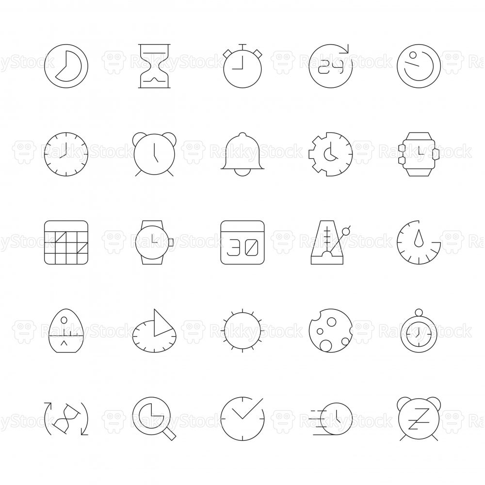 Time Icons - Ultra Thin Line Series