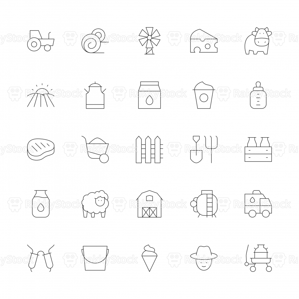 Dairy Farm Icons - Ultra Thin Line Series