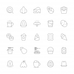 Food and Drink Icons Set 3 - Ultra Thin Line Series