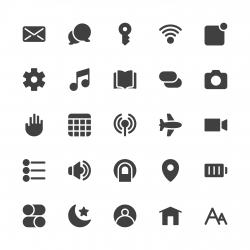 Mobile Device Setting Icons - Gray Series