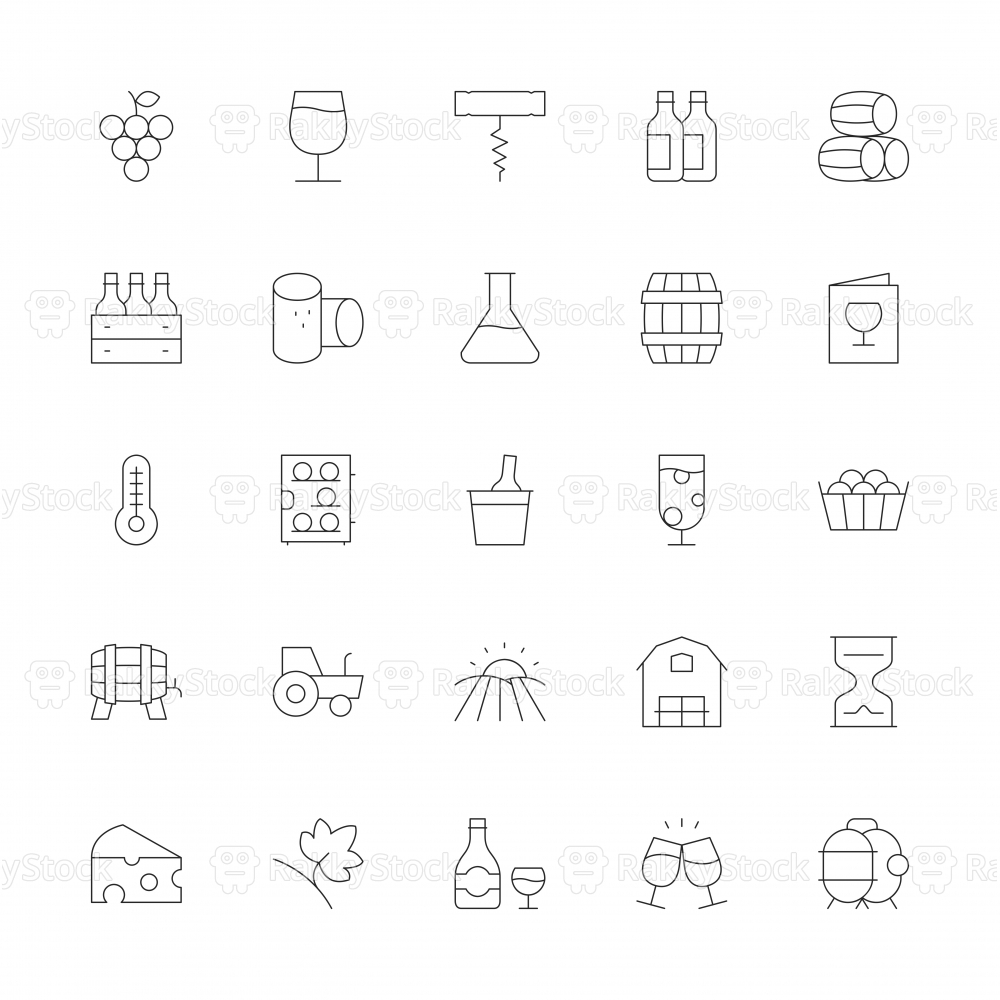 Winery Icons - Ultra Thin Line Series
