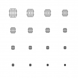 Wooden Barrel Icons - Multi Scale Line Series