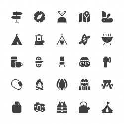 Camping Icons - Gray Series
