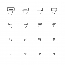 Air Conditioner Icons - Multi Scale Line Series