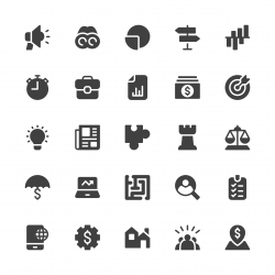 Business Strategy Icons - Gray Series