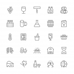 Winery Icons - Thin Line Series