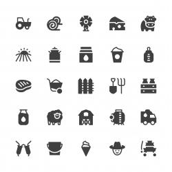 Dairy Farm Icons - Gray Series