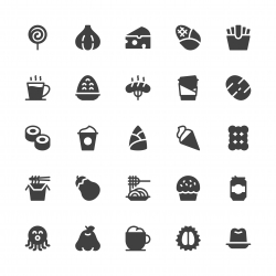 Food and Drink Icons Set 3 - Gray Series