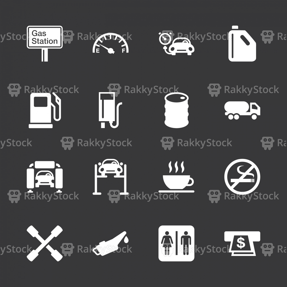 Gas Station Icons - White Series | EPS10
