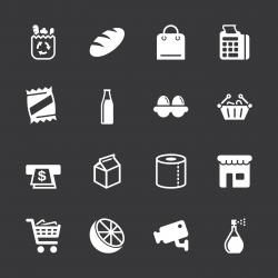 Supermarket Icons - White Series | EPS10