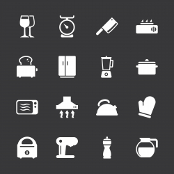 Kitchen Utensils Icons - White Series | EPS10