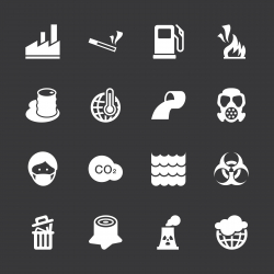Pollution Icons - White Series | EPS10