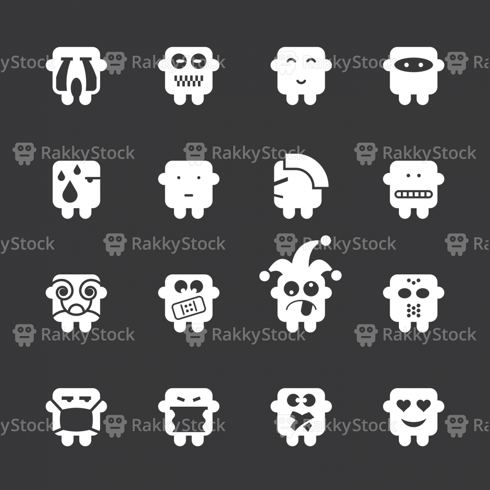 Emoticons Set 7 - White Series | EPS10