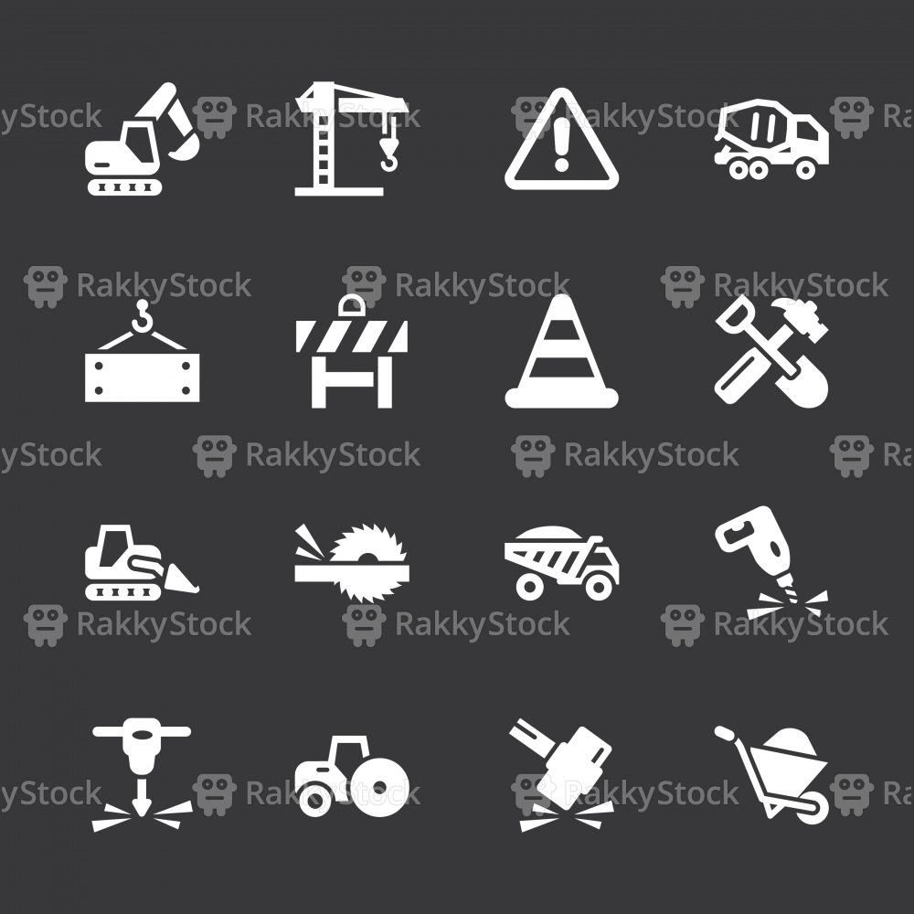 Construction Icons - White Series | EPS10