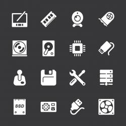 Computer Hardware Icons Set 2 - White Series   EPS10