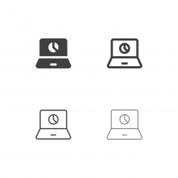 Pie Chart on Laptop Icons - Multi Series