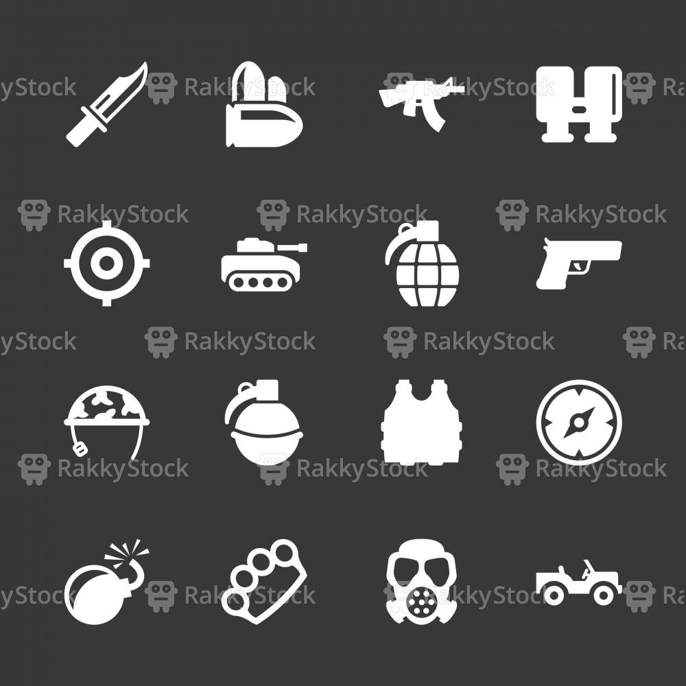 Army Icons - White Series | EPS10