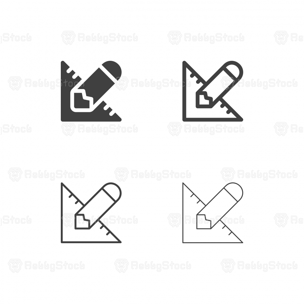 Pencil and Ruler Icons - Multi Series