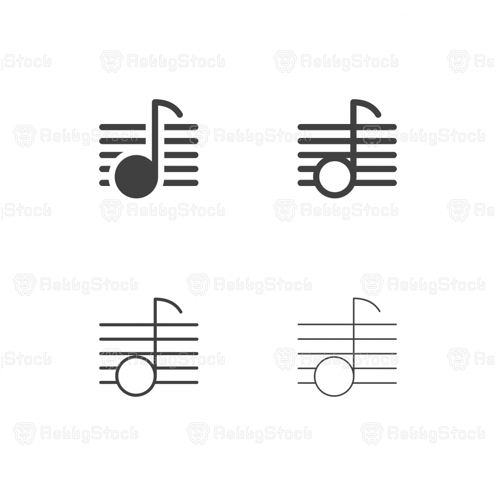 Musical Note on Line Icons - Multi Series